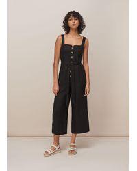 Whistles Hadley Linen Jumpsuit - Black