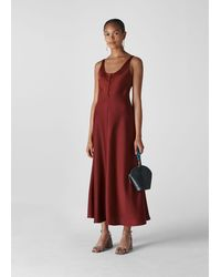 Whistles Pippa Satin Slip Dress - Red