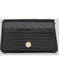 Whistles Emmy Lizard Leather Coin Purse - Black