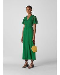Whistles Cecily Check Dress - Green