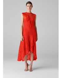 Whistles Willow Lace Dress - Red