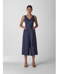 Whistles Alpha Strap Detail Linen Jumpsuit - Blue