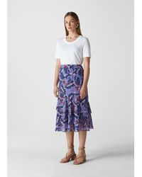 Whistles Josephine Print Frill Skirt - Purple