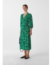 Whistles Sunflower Print Wrap Dress - Green