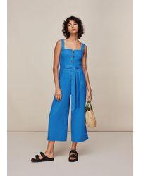 Whistles Hadley Linen Jumpsuit - Blue