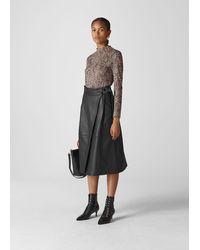 Whistles Leather Wrap Midi Skirt - Black