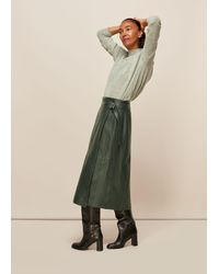 Whistles Selina Leather Wrap Skirt - Green