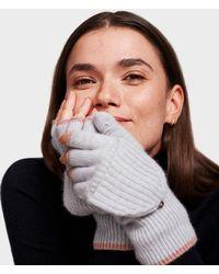White + Warren - Cashmere Rib Pop-top Glove - Lyst