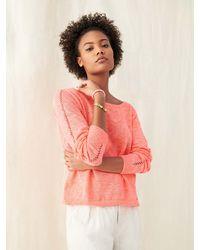 White + Warren Linen Crochet Detail Top - Multicolor