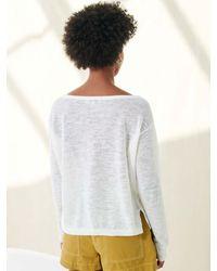 White + Warren Linen Crochet Detail Top - White