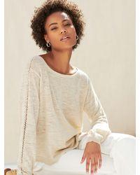 White + Warren Linen Crochet Detail Top - Natural