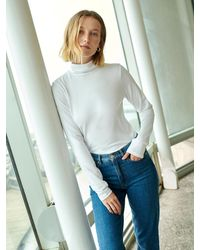 White + Warren Cotton Modal Scrunchneck - White