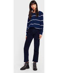 White + Warren - Cashmere Essential Striped Sweatshirt - Lyst