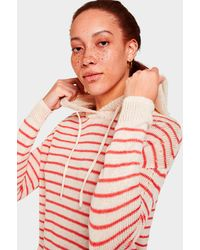 White + Warren Corded Linen Striped Hoodie - Red