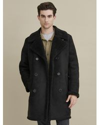 Wilsons Leather Faux Shearling Car Coat - Black