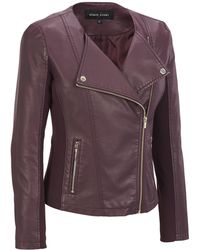 Wilsons Leather - Black Rivet Collarless Asymmetrical Faux-leather Cycle Jacket W/ Knit Inset - Lyst
