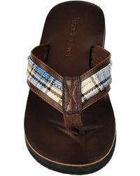 Wilsons Leather - Black Rivet Plaid Leather Flip Flop - Lyst