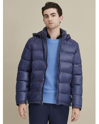 Wilsons Leather Heavyweight Puffer With Removable Hood - Blue