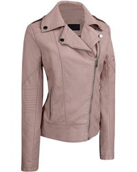 Wilsons Leather Faux-leather Moto Jacket - Pink