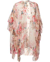 Wilsons Leather - Ruffled Floral Wrap - Lyst