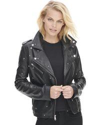 Wilsons Leather Vintage All Over Star Studded Leather Jacket - Black