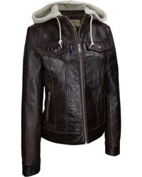 Wilsons Leather - Center Zip Crackle Leather Jacket W/ Hood - Lyst