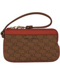 Wilsons Leather Designer Brand Top Zip Mono Leather Wristlet - Brown