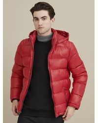 Wilsons Leather Heavyweight Puffer With Removable Hood - Red