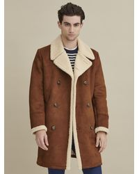 Wilsons Leather Faux Shearling Car Coat - Brown