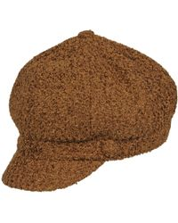 7bf3fe99a7e Lyst - Surell Rabbit Cabbie Hat With Suede Visor in Brown