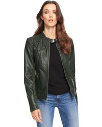 Wilsons Leather - Web Buster Designer Brand Snap-tab Collar Faux-leather Jacket W/ Knit Panels - Lyst