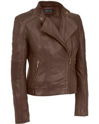 Wilsons Leather | Black Rivet Accordion Stitched Shoulder And Elbow Lamb Jacket | Lyst