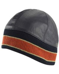 Wilsons Leather Leather Skull Cap With Orange Stripe - Black