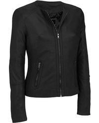 Wilsons Leather - Black Rivet Center Zip Round Neck Lamb Jacket W/ Side Stitching - Lyst