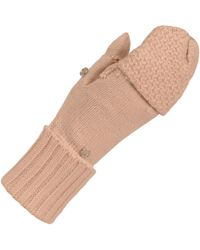 Wilsons Leather Famous Maker Flip Top Textured Mitten - Natural