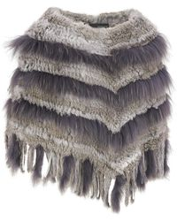 Wilsons Leather - Fur Fringe Knitted Poncho - Lyst