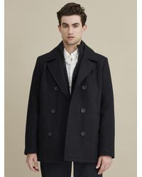 Wilsons Leather - Knit Inset Wool Peacoat - Lyst