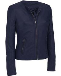 22f6a9e56ac3d Wilsons Leather - Black Rivet Center Zip Round Neck Lamb Jacket W  Side  Stitching -