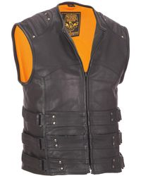 Wilsons Leather - Web Buster Milwaukee Leather Crew Collar Leather Motorcycle Performance Vest - Lyst
