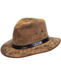 490dcba36a8 Lyst - San Diego Hat Company Faux Leather Band Cut And Sew Paper ...