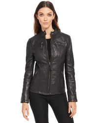 Wilsons Leather - Black Rivet Center Zip Genuine Lamb Scuba Jacket - Lyst