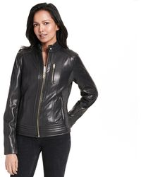 Wilsons Leather - Web Buster Front Zip Leather Jacket W/ Tab Collar - Lyst