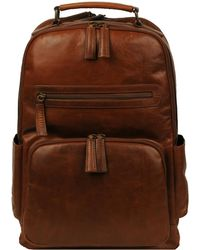 Wilsons Leather Vintage Leather Crunch Backpack - Brown