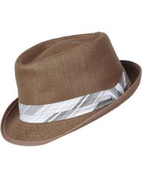42acb775c3fa Lyst - Perry Ellis Straw Panama Layered Band Hat in Gray for Men