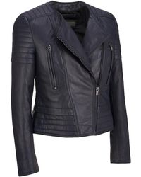 Wilsons Leather - Collarless Lamb Cycle Jacket W/ Quilting - Lyst