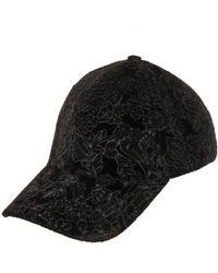 Wilsons Leather Paisley Embroidered Velvet Baseball Hat - Black