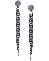 Sheryl Lowe Chain Fringe & Pavé Diamond Earrings - Metallic