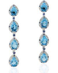 Artisan 18kt White Gold Genuine Diamond Sapphire Topaz Dangle Earring Handmade Jewellery - Blue