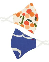 Emily and Fin Set Of Two Contour Masks Brushstroke Dove & Mini Summer Oranges - Blue