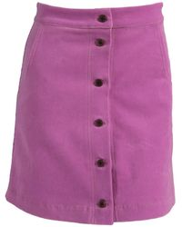 relax baby be cool Ribbed Corduroy High Waist Button Up Mini Skirt - Purple